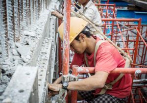 A construction worker on site in Yangon