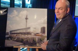 Steven Joyce unveiling the new SkyCity convention centre design.